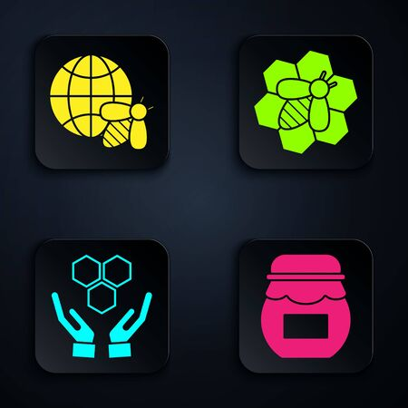 Set Jar of honey, Honeycomb map of the world and bee, Honeycomb and hands and Bee and honeycomb. Black square button. Vector