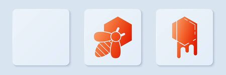 Set Bee and honeycomb, Hive for bees and Honeycomb. White square button. Vector