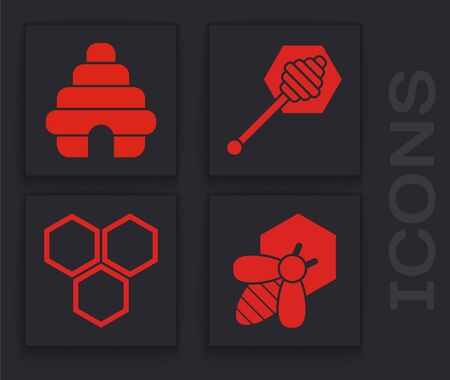Set Bee and honeycomb, Hive for bees, Honey dipper stick and Honeycomb icon. Vector Çizim