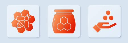 Set Jar of honey, Bee and honeycomb and Honeycomb and hand. White square button. Vector Ilustração