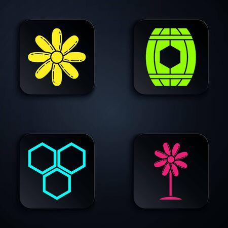 Set Flower, Flower, Honeycomb and Wooden barrel with honey. Black square button. Vector