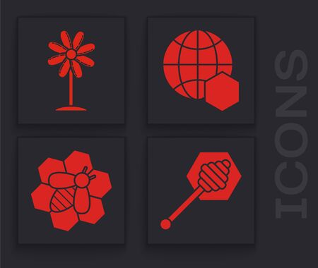Set Honey dipper stick, Flower, Honeycomb map of the world and Bee and honeycomb icon. Vector Ilustração