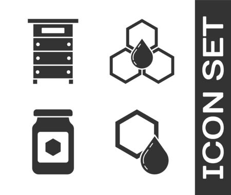 Set Honeycomb, Hive for bees, Jar of honey and Honeycomb icon. Vector