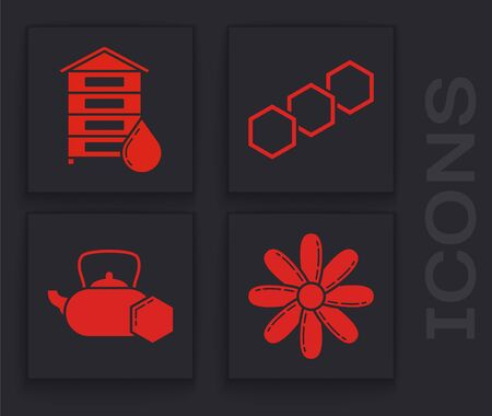 Set Flower, Hive for bees, Honeycomb and Tea kettle with honey icon. Vector