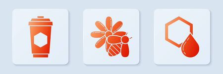 Set Bee and flower, Cup of tea with honey and Honeycomb. White square button. Vector
