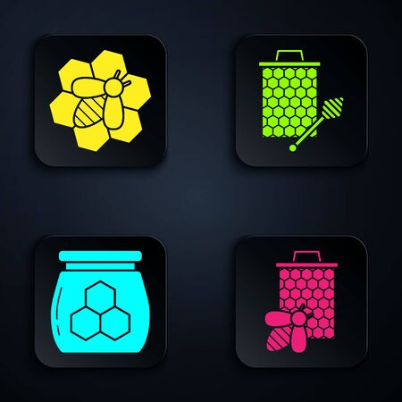 Set Bee and honeycomb, Bee and honeycomb, Jar of honey and Honeycomb with honey dipper stickicon. Black square button. Vector