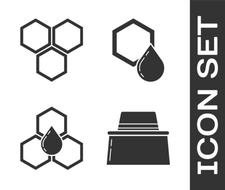 Set Beekeeper with protect hat, Honeycomb, Honeycomb and Honeycomb icon. Vector Ilustração