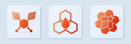 Set Honeycomb, Honey dipper stick and Bee and honeycomb. White square button. Vector Ilustração