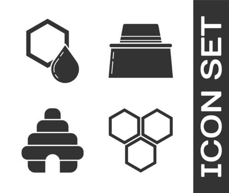 Set Honeycomb, Honeycomb, Hive for bees and Beekeeper with protect hat icon. Vector