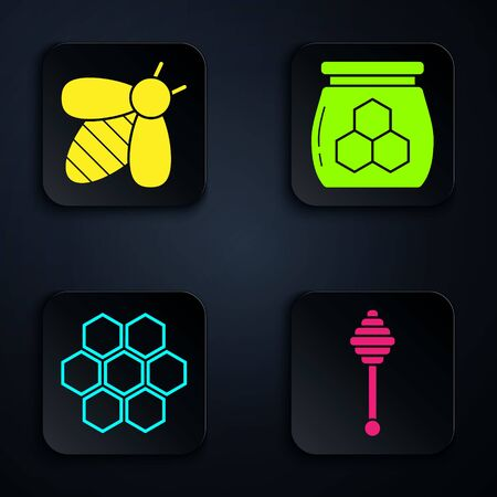 Set Honey dipper stick, Bee, Honeycomb and Jar of honey. Black square button. Vector