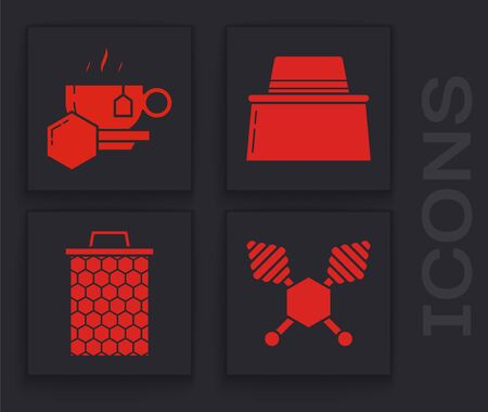 Set Honey dipper stick, Cup of tea with honey, Beekeeper with protect hat and Honeycomb icon. Vector Ilustração