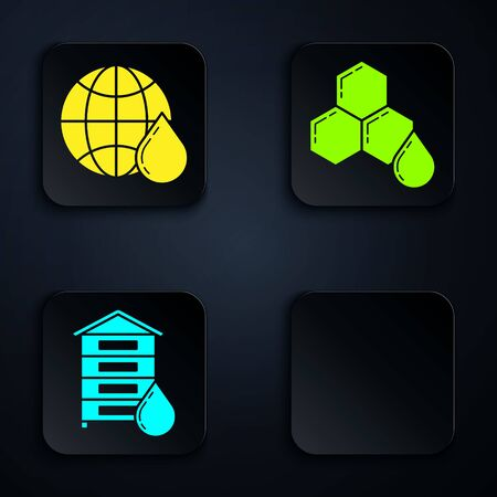 Set Hive for bees, Honeycomb map of the world, Hive for bees and Honeycomb. Black square button. Vector
