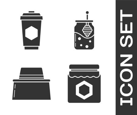 Set Jar of honey, Cup of tea with honey, Beekeeper with protect hat and Jar of honey and honey dipper stick icon. Vector
