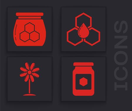 Set Jar of honey, Jar of honey, Honeycomb and Flower icon. Vector