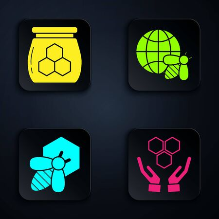 Set Honeycomb and hands, Jar of honey, Bee and honeycomb and Honeycomb map of the world and bee. Black square button. Vector