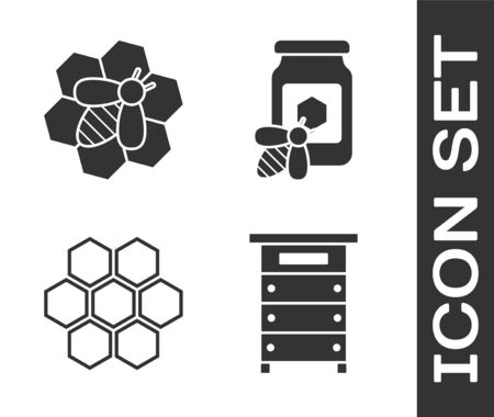 Set Hive for bees, Bee and honeycomb, Honeycomb and Jar of honey with bee icon. Vector