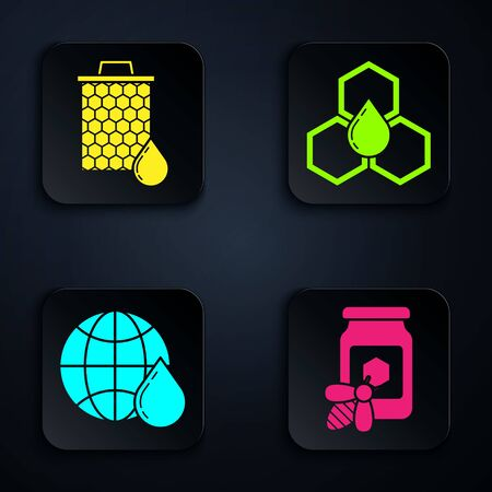 Set Jar of honey with bee, Honeycomb, Honeycomb map of the world and Honeycomb. Black square button. Vector Ilustração