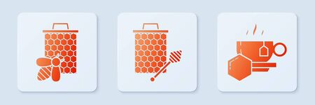 Set Honeycomb with honey dipper stickicon, Bee and honeycomb and Cup of tea with honey. White square button. Vector Ilustração