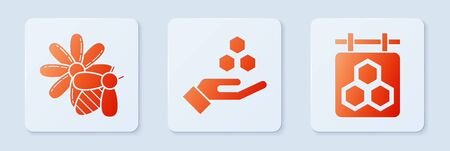 Set Honeycomb and hand, Bee and flower and Hanging sign with honeycomb. White square button. Vector