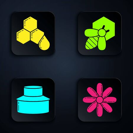 Set Flower, Honeycomb, Beekeeper with protect hat and Bee and honeycomb. Black square button. Vector