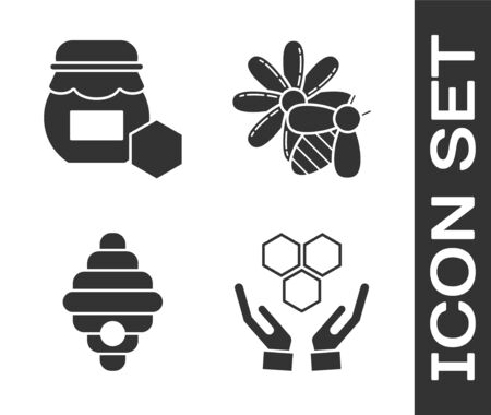 Set Honeycomb and hands, Jar of honey, Hive for bees and Bee and flower icon. Vector Ilustração