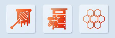 Set Hive for bees, Honey dipper stick with dripping honey and Honeycomb. White square button. Vector