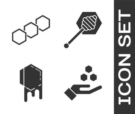 Set Honeycomb and hand, Honeycomb, Honeycomb and Honey dipper stick icon. Vector