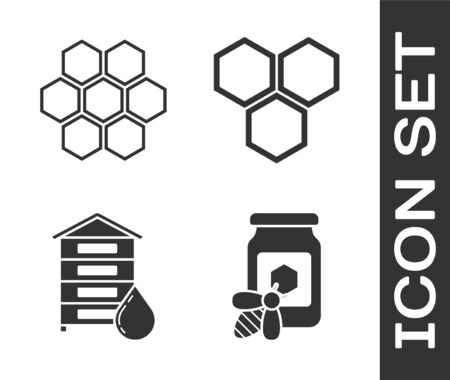 Set Jar of honey with bee, Honeycomb, Hive for bees and Honeycomb icon. Vector