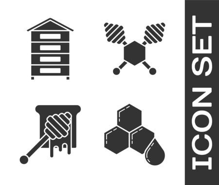 Set Honeycomb, Hive for bees, Honey dipper stick with dripping honey and Honey dipper stick icon. Vector