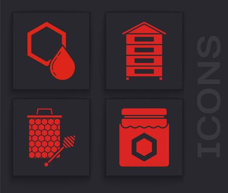 Set Jar of honey, Honeycomb, Hive for bees and Honeycomb with honey dipper stickicon icon. Vector Çizim