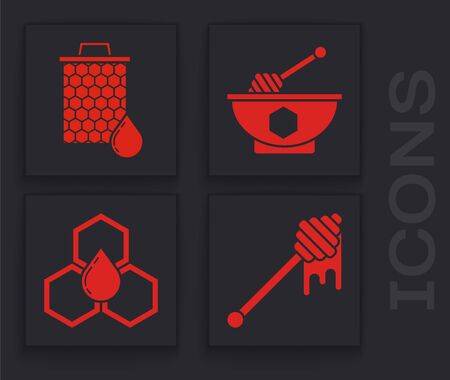 Set Honey dipper stick with dripping honey, Honeycomb, Honey dipper stick and bowl and Honeycomb icon. Vector