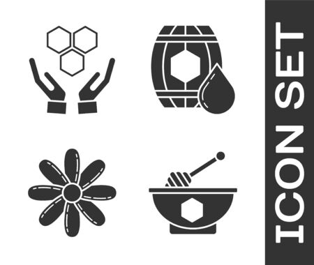 Set Honey dipper stick and bowl, Honeycomb and hands, Flower and Wooden barrel with honey icon. Vector Ilustração