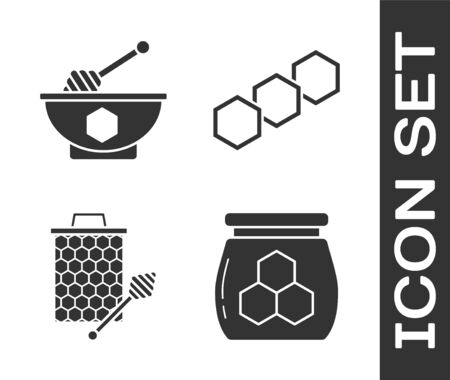 Set Jar of honey, Honey dipper stick and bowl, Honeycomb with honey dipper stickicon and Honeycomb icon. Vector Ilustração
