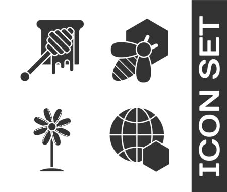 Set Honeycomb map of the world, Honey dipper stick with dripping honey, Flower and Bee and honeycomb icon. Vector