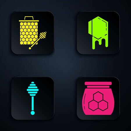 Set Jar of honey, Honeycomb with honey dipper stickicon, Honey dipper stick and Honeycomb. Black square button. Vector