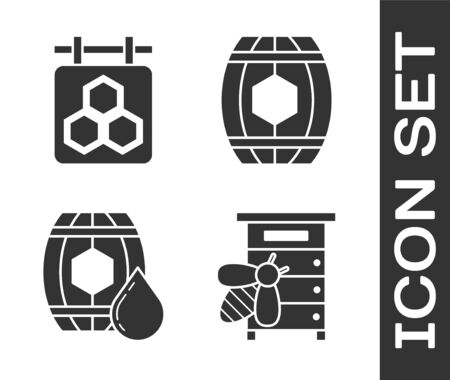 Set Hive for bees, Hanging sign with honeycomb, Wooden barrel with honey and Wooden barrel with honey icon. Vector Ilustração