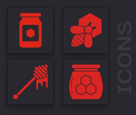 Set Jar of honey, Jar of honey, Bee and honeycomb and Honey dipper stick with dripping honey icon. Vector