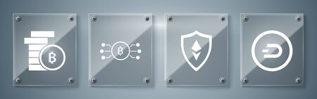 Set Cryptocurrency coin Dash, Shield Ethereum ETH, Cryptocurrency bitcoin in circle with microchip circuit and Cryptocurrency coin Bitcoin. Square glass panels. Vector