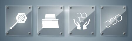 Set Honeycomb, Honeycomb and hands, Beekeeper with protect hat and Honey dipper stick. Square glass panels. Vector Ilustração