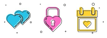 Set Two Linked Hearts, Castle in the shape of a heart and Calendar with heart icon. Vector Ilustracja