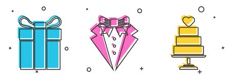 Set Gift box, Suit and Wedding cake with heart icon. Vector
