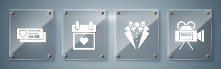 Set Cinema camera, Suit, Calendar with heart and Ticket with heart. Square glass panels. Vector Ilustração