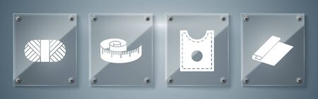 Set Textile fabric roll, Sewing Pattern, Tape measure and Sewing thread on spool. Square glass panels. Vector
