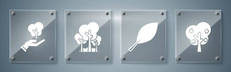 Set Tree with apple, Leaf, Trees and Tree in hand of environmental protection. Square glass panels. Vector
