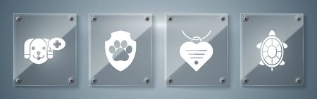 Set Turtle, Collar with name tag and heart, Animal health insurance and Veterinary clinic symbol. Square glass panels. Vector