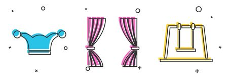 Set Jester hat with bells, Curtain and Swing icon. Vector Stock fotó - 138113031