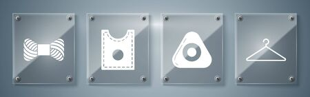 Set Hanger wardrobe, Sewing chalk, Sewing Pattern and Sewing thread on spool. Square glass panels. Vector 일러스트