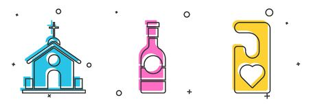 Set Church building, Champagne bottle and Please do not disturb with heart icon. Vector Ilustrace