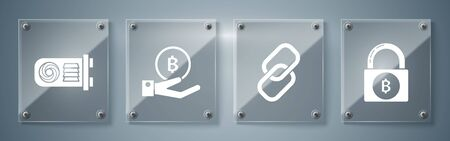 Set Lock with bitcoin, Chain link, Hand holding Bitcoin and Mining farm. Square glass panels. Vector