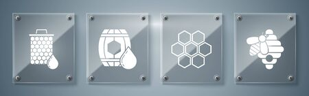 Set Hive for bees, Honeycomb, Wooden barrel with honey and Honeycomb. Square glass panels. Vector